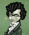 Cartoon: Ferdinand Ries in Love (small) by frostyhut tagged ries composer classical hearts music eyebrows ferdinand curly monobrow green cravat german