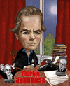 Cartoon: Martin Amis (small) by frostyhut tagged martin,amis,english,author,novelist,typewriter,bellow,nabokov,books,moon,curtains