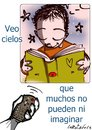 Cartoon: imaginando palabras (small) by LaRataGris tagged television,libros