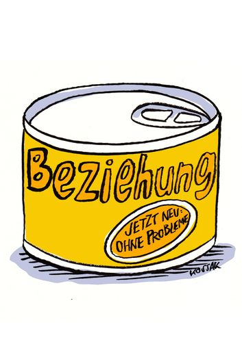 Cartoon: Beziehung (medium) by Kossak tagged beziehung,relationship,liebe,love,probleme,problems,dose,can,beziehung,liebe,probleme,dose,essen,dosenfutter,partnerschaft,ehe