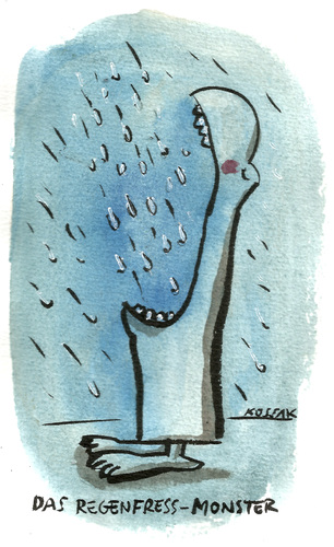 Cartoon: Das Regenfress-Monster (medium) by Kossak tagged monster,regen,fressen,hungrig,blau,monster,regen,fressen,hungrig,blau