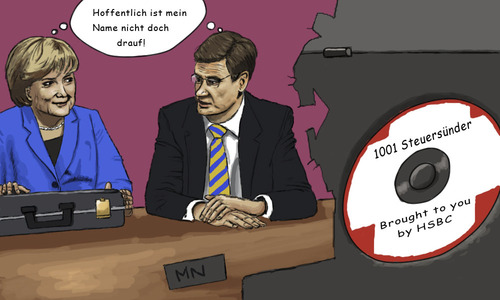 Cartoon: 1001 Steuersuender (medium) by flintstone73 tagged steuersuender,cd,steuerparadies,illegal,merkel,westerwelle