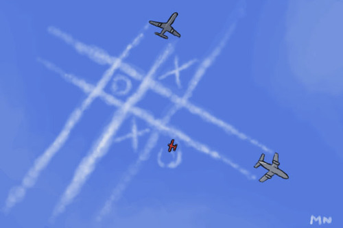 Cartoon: Chemtrails (medium) by flintstone73 tagged chemtrails,tic,tac,toe,planes,himmel,sky