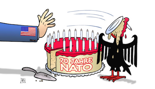 Cartoon: 70 Jahre NATO (medium) by Harm Bengen tagged 70,jahre,nato,usa,deutschland,adler,torte,ruestung,streit,harm,bengen,cartoon,karikatur,70,jahre,nato,usa,deutschland,adler,torte,ruestung,streit,harm,bengen,cartoon,karikatur