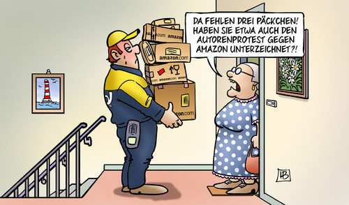 Cartoon: Amazon-Protest (medium) by Harm Bengen tagged päckchen,autorenprotest,autoren,protest,amazon,verlage,rabatte,postbote,internetversand,harm,bengen,cartoon,karikatur,päckchen,autorenprotest,autoren,protest,amazon,verlage,rabatte,postbote,internetversand,harm,bengen,cartoon,karikatur