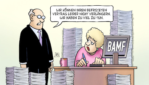 Cartoon: BAMF-Entlassungen (medium) by Harm Bengen tagged befristetet,entfristet,vertrag,bamf,entlassungen,harm,bengen,cartoon,karikatur,befristetet,entfristet,vertrag,bamf,entlassungen,harm,bengen,cartoon,karikatur