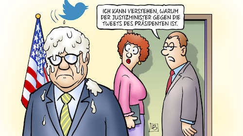 Cartoon: Barr und Twitter (medium) by Harm Bengen tagged usa,barr,justizminister,tweets,trump,prozess,strafe,stone,vogelscheisse,harm,bengen,cartoon,karikatur,usa,barr,justizminister,tweets,trump,prozess,strafe,stone,vogelscheisse,harm,bengen,cartoon,karikatur