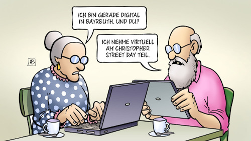 Cartoon: Bayreuth und CSD (medium) by Harm Bengen tagged digital,bayreuth,wagner,festspiele,corona,laptop,tablett,virtuell,christopher,street,day,csd,schwul,lesbisch,parade,computer,susemil,harm,bengen,cartoon,karikatur,digital,bayreuth,wagner,festspiele,corona,laptop,tablett,virtuell,christopher,street,day,csd,schwul,lesbisch,parade,computer,susemil,harm,bengen,cartoon,karikatur