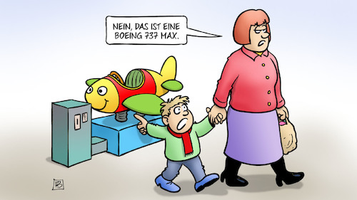 Cartoon: Boeing 737 Max (medium) by Harm Bengen tagged boeing,737,max,flugzeugabsturz,flugsicherheit,kiddy,ride,spielzeug,kind,mutter,harm,bengen,cartoon,karikatur,boeing,737,max,flugzeugabsturz,flugsicherheit,kiddy,ride,spielzeug,kind,mutter,harm,bengen,cartoon,karikatur