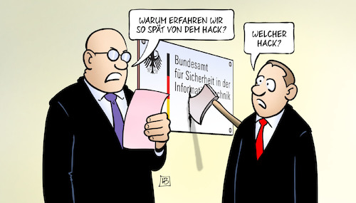 Cartoon: BSI und Hack (medium) by Harm Bengen tagged hackerangriff,rechtsextremismus,afd,axt,it,bsi,bundesamt,seehofer,unwissenheit,sicherheit,datenklau,harm,bengen,cartoon,karikatur,hackerangriff,rechtsextremismus,afd,axt,it,bsi,bundesamt,seehofer,unwissenheit,sicherheit,datenklau,harm,bengen,cartoon,karikatur