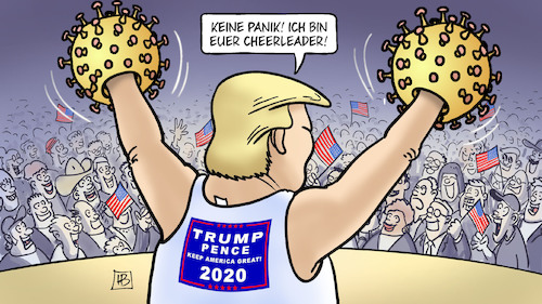 Cartoon: Cheerleader (medium) by Harm Bengen tagged panik,cheerleader,trump,corona,lügen,wahlkampf,usa,harm,bengen,cartoon,karikatur,panik,cheerleader,trump,corona,lügen,wahlkampf,usa,harm,bengen,cartoon,karikatur