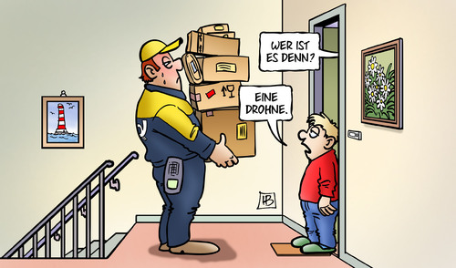 dhl drohne by harm bengen business cartoon toonpool. Black Bedroom Furniture Sets. Home Design Ideas