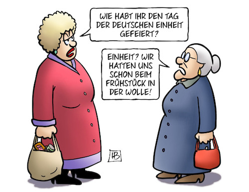 Cartoon: Dt. Einheit-Streit (medium) by Harm Bengen tagged deutsche,einheit,gefeiert,fruehstueck,streit,susemil,harm,bengen,cartoon,karikatur,deutsche,einheit,gefeiert,fruehstueck,streit,susemil,harm,bengen,cartoon,karikatur