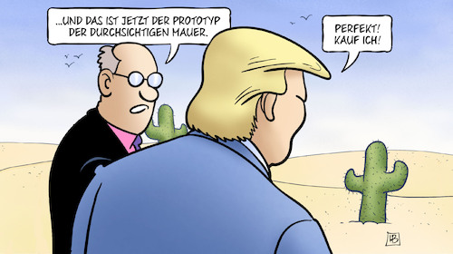 Cartoon: Durchsichtige Mauer (medium) by Harm Bengen tagged durchsichtige,mauer,prototyp,trump,mexiko,harm,bengen,cartoon,karikatur,durchsichtige,mauer,prototyp,trump,mexiko,harm,bengen,cartoon,karikatur
