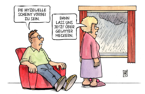 Cartoon: Ende der Hitzewelle (medium) by Harm Bengen tagged ende,hitzewelle,gewitter,meckern,regen,sommer,heiss,harm,bengen,cartoon,karikatur,ende,hitzewelle,gewitter,meckern,regen,sommer,heiss,harm,bengen,cartoon,karikatur
