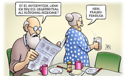 Cartoon: ESC-Siegerin (medium) by Harm Bengen tagged siegerin,antisemitisch,antisemitismus,siegerbeitrag,blödsinnig,frauenfeindlich,esc,eurovision,song,contest,susemil,harm,bengen,cartoon,karikatur,siegerin,antisemitisch,antisemitismus,siegerbeitrag,blödsinnig,frauenfeindlich,esc,eurovision,song,contest,susemil,harm,bengen,cartoon,karikatur