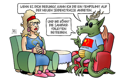 Cartoon: EU-China-Gipfel (medium) by Harm Bengen tagged eu,europa,china,gipfel,wirtschaft,tempolimit,neue,seidenstrasse,sanifair,toiletten,sessel,drache,harm,bengen,cartoon,karikatur,eu,europa,china,gipfel,wirtschaft,tempolimit,neue,seidenstrasse,sanifair,toiletten,sessel,drache,harm,bengen,cartoon,karikatur