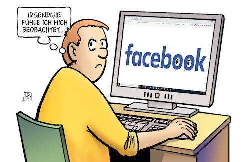 Cartoon: Facebook-Beobachtungsliste (medium) by Harm Bengen tagged facebook,beobachtungsliste,kritiker,bespitzeln,augen,computer,harm,bengen,cartoon,karikatur,facebook,beobachtungsliste,kritiker,bespitzeln,augen,computer,harm,bengen,cartoon,karikatur
