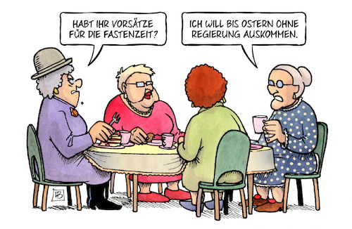 Cartoon: Fasten 2018 (medium) by Harm Bengen tagged vorsätze,fastenzeit,ostern,regierung,groko,susemil,kaffekränzchen,bengen,cartoon,karikatur,vorsätze,fastenzeit,ostern,regierung,groko,susemil,kaffekränzchen,bengen,cartoon,karikatur