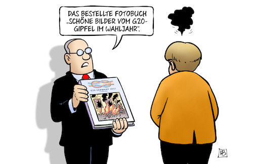 Cartoon: Fotobuch (medium) by Harm Bengen tagged fotobuch,bilder,wahljahr,bundestagswahl,merkel,gipfel,hamburg,g20,protest,randale,krawalle,harm,bengen,cartoon,karikatur,fotobuch,bilder,wahljahr,bundestagswahl,merkel,gipfel,hamburg,g20,protest,randale,krawalle,harm,bengen,cartoon,karikatur