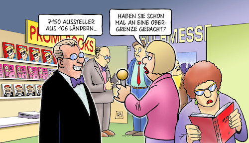 Cartoon: Frankfurter Buchmesse 2017 (medium) by Harm Bengen tagged frankfurter,buchmesse,2017,aussteller,obergrenze,interview,harm,bengen,cartoon,karikatur,frankfurter,buchmesse,2017,aussteller,obergrenze,interview,harm,bengen,cartoon,karikatur