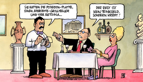 Cartoon: Griechenland (medium) by Harm Bengen tagged griechenland,eu,krise,kredit,ezb,iwf,bankrott,pleite,haushalt,defizit,griechenland,eu,krise,kredit,ezb,iwf,bankrott,pleite,haushalt,defizit
