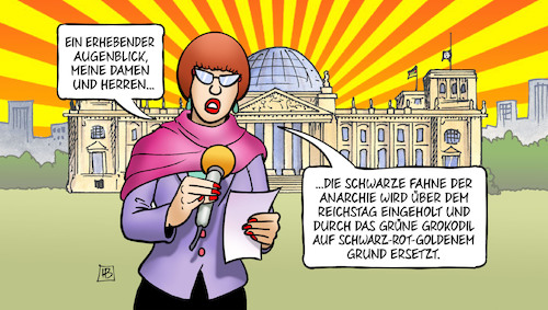 Cartoon: Groko-Fahne (medium) by Harm Bengen tagged fahne,anarchie,reichstag,grokodil,reporterin,groko,verhandlungen,union,spd,harm,bengen,cartoon,karikatur,fahne,anarchie,reichstag,grokodil,reporterin,groko,verhandlungen,union,spd,harm,bengen,cartoon,karikatur
