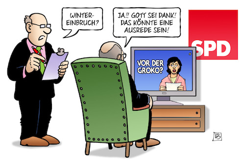 Cartoon: Groko und Wintereinbruch (medium) by Harm Bengen tagged wintereinbruch,ausrede,grosse,koalition,sondierungen,groko,schulz,spd,merkel,tv,harm,bengen,cartoon,karikatur,wintereinbruch,ausrede,grosse,koalition,sondierungen,groko,schulz,spd,merkel,tv,harm,bengen,cartoon,karikatur
