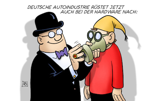 Cartoon: Hardware-Nachrüstung (medium) by Harm Bengen tagged hardware,nachrüstung,dieselgipfel,diesel,abgasskandal,automobilindustrie,abgaswerte,no2,nox,fahrverbote,harm,bengen,cartoon,karikatur,hardware,nachrüstung,dieselgipfel,diesel,abgasskandal,automobilindustrie,abgaswerte,no2,nox,fahrverbote,harm,bengen,cartoon,karikatur