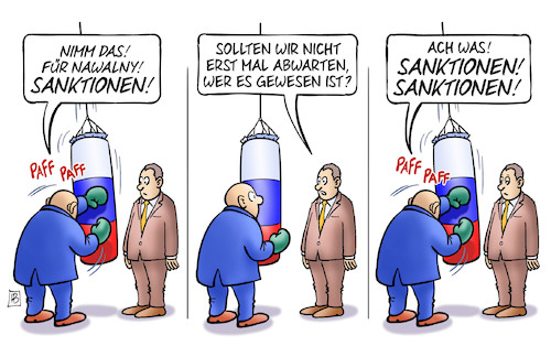Cartoon: Hauptsache Sanktionen (medium) by Harm Bengen tagged boxen,sanktionen,nervengift,vergiften,vergiftung,nowitschok,russland,nawalny,voreilig,harm,bengen,cartoon,karikatur,boxen,sanktionen,nervengift,vergiften,vergiftung,nowitschok,russland,nawalny,voreilig,harm,bengen,cartoon,karikatur