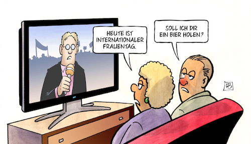 Cartoon: Int. Frauentag 2018 (medium) by Harm Bengen tagged internationaler,frauentag,bier,ehe,tv,harm,bengen,cartoon,karikatur,internationaler,frauentag,bier,ehe,tv,harm,bengen,cartoon,karikatur