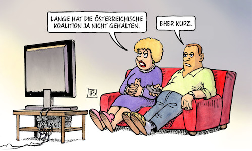 Cartoon: Kurze Koalition (medium) by Harm Bengen tagged österreich,koalition,kurz,strache,neuwahlen,video,rechtspopulisten,fpö,tv,harm,bengen,cartoon,karikatur,österreich,koalition,kurz,strache,neuwahlen,video,rechtspopulisten,fpö,tv,harm,bengen,cartoon,karikatur