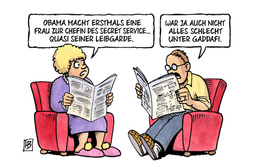 Cartoon: Leibgarde (medium) by Harm Bengen tagged obama,präsident,secret,service,chefin,gaddafi,usa,frau,pierson,harm,bengen,cartoon,karikatur,obama,präsident,secret,service,chefin,gaddafi,usa,frau,pierson,harm,bengen,cartoon,karikatur