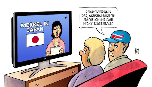 Cartoon: Merkel in Japan (medium) by Harm Bengen tagged merkel,staatsbesuch,japan,weltkrieg,reaktivierung,achsenmächte,tv,afd,harm,bengen,cartoon,karikatur,merkel,staatsbesuch,japan,weltkrieg,reaktivierung,achsenmächte,tv,afd,harm,bengen,cartoon,karikatur