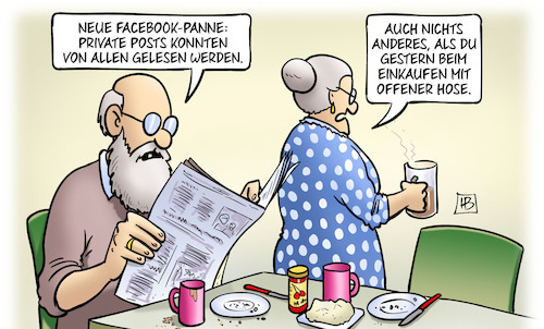 Cartoon: Neue Facebook-Panne (medium) by Harm Bengen tagged facebook,panne,private,posts,einkaufen,hose,susemil,harm,bengen,cartoon,karikatur,facebook,panne,private,posts,einkaufen,offene,hose,susemil,harm,bengen,cartoon,karikatur