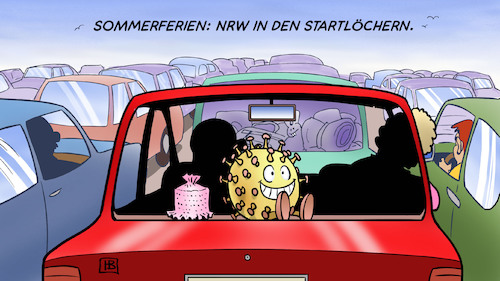 Cartoon: NRW-Ferien 2020 (medium) by Harm Bengen tagged sommerferien,nrw,startlöchern,auto,kfz,stau,corona,hutablage,mitfahrgelegenheit,riskio,urlaub,gütersloh,toennies,harm,bengen,cartoon,karikatur,sommerferien,nrw,startlöchern,auto,kfz,stau,corona,hutablage,mitfahrgelegenheit,riskio,urlaub,gütersloh,toennies,harm,bengen,cartoon,karikatur