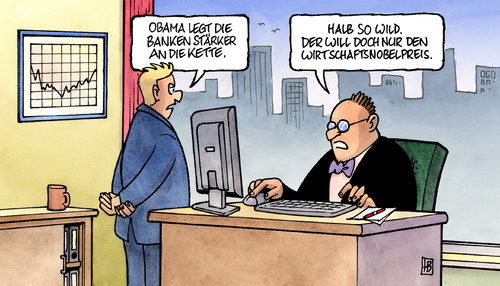 Cartoon: Obamas Bankenplan (medium) by Harm Bengen tagged obama,usa,banken,plan,kette,finanzkrise,investment,kredite,barack obama,usa,banken,bank,geld,finanzen,wirtschaft,finanzkrise,investment,kredite,barack,obama