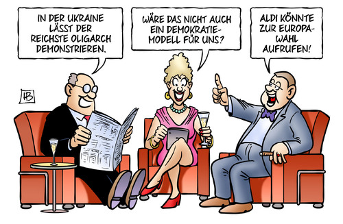 Cartoon: Oligarchen-Demokratie (medium) by Harm Bengen tagged oligarch,achmetow,demonstrieren,demokratie,aldi,europawahl,runder,tisch,nato,teilung,referendum,wahl,sanktionen,armee,soldaten,umsturz,maidan,ukraine,eu,europa,russland,putin,usa,aufstand,putsch,krieg,revolte,kiew,harm,bengen,cartoon,karikatur,oligarch,achmetow,demonstrieren,demokratie,aldi,europawahl,runder,tisch,nato,teilung,referendum,wahl,sanktionen,armee,soldaten,umsturz,maidan,ukraine,eu,europa,russland,putin,usa,aufstand,putsch,krieg,revolte,kiew,harm,bengen,cartoon,karikatur