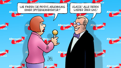 Cartoon: Petry-Nichtkandidatur (medium) by Harm Bengen tagged petry,afd,ablehnung,spitzenkandidatur,bundestagswahl,parteitag,publicity,werbung,interview,harm,bengen,cartoon,karikatur,petry,afd,ablehnung,spitzenkandidatur,bundestagswahl,parteitag,publicity,werbung,interview,harm,bengen,cartoon,karikatur