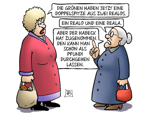 Cartoon: Realos (medium) by Harm Bengen tagged grüne,doppelspitze,reala,realos,parteitag,wahl,habeck,baerbock,fundis,pfundis,gewicht,harm,bengen,cartoon,karikatur,grüne,doppelspitze,reala,realos,parteitag,wahl,habeck,baerbock,fundis,pfundis,gewicht,harm,bengen,cartoon,karikatur