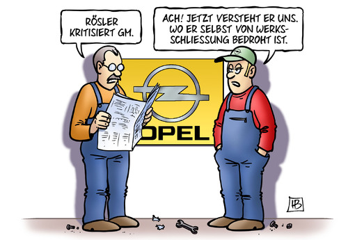 Cartoon: Rösler und GM (medium) by Harm Bengen tagged rösler,wirtschaftsminister,fdp,gm,general,motors,opel,werksschließung,harm,bengen,cartoon,karikatur,rösler,wirtschaftsminister,fdp,gm,general,motors,opel,werksschließung,harm,bengen,cartoon,karikatur