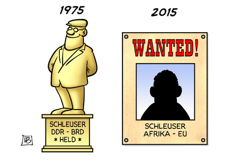 Cartoon: Schleuser einst und heute (medium) by Harm Bengen tagged schleuser,schlepper,ddr,brd,held,denkmal,steckbrief,wanted,fluechtlinge,mittelmeer,libyen,militaereinsatz,eu,europa,afrika,harm,bengen,cartoon,karikatur,schleuser,schlepper,ddr,brd,held,denkmal,steckbrief,wanted,fluechtlinge,mittelmeer,libyen,militaereinsatz,eu,europa,afrika,harm,bengen,cartoon,karikatur