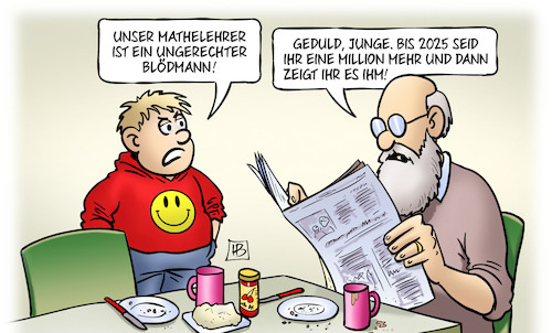 Cartoon: Schüler-Boom (medium) by Harm Bengen tagged schüler,boom,schule,bertelsmann,studie,mathelehrer,kind,enkel,opa,susemil,geburtenrate,harm,bengen,cartoon,karikatur,schüler,boom,schule,bertelsmann,studie,mathelehrer,kind,enkel,opa,susemil,geburtenrate,harm,bengen,cartoon,karikatur