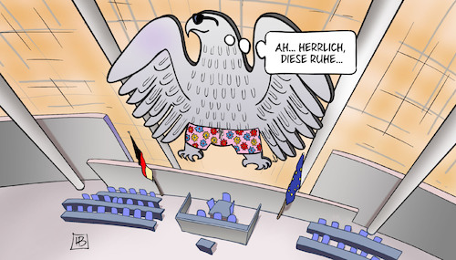 Cartoon: Sommerpause 2108 (medium) by Harm Bengen tagged ruhe,sommerpause,urlaub,bundestag,adler,harm,bengen,cartoon,karikatur,ruhe,sommerpause,urlaub,bundestag,adler,harm,bengen,cartoon,karikatur
