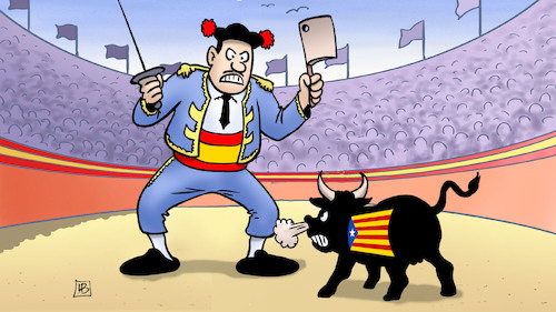 Cartoon: Spanien vs. Katalonien (medium) by Harm Bengen tagged spanien,katalonien,unabhängigkeit,separatisten,prozess,stierkampf,torero,harm,bengen,cartoon,karikatur,spanien,katalonien,unabhängigkeit,separatisten,prozess,stierkampf,torero,harm,bengen,cartoon,karikatur