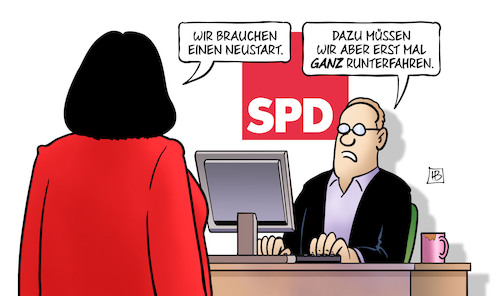 Cartoon: SPD-Neustart (medium) by Harm Bengen tagged neustart,computer,spd,nahles,monitor,runterfahren,harm,bengen,cartoon,karikatur,neustart,computer,spd,nahles,monitor,runterfahren,harm,bengen,cartoon,karikatur