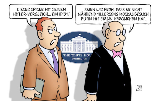 Cartoon: Spicer und Hitler (medium) by Harm Bengen tagged spicer,pressesprecher,weisses,haus,usa,hitler,vergleich,idiot,tillerson,moskaubesuch,putin,stalin,harm,bengen,cartoon,karikatur,spicer,pressesprecher,weisses,haus,usa,hitler,vergleich,idiot,tillerson,moskaubesuch,putin,stalin,harm,bengen,cartoon,karikatur