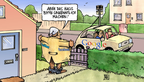 Cartoon: Streetview (medium) by harm tagged streetview,google,facebook,twitter,auto,haus,einspruch,verpixeln,unkenntlich,exhibitionismus,datenschutz,aigner,innenminister,streetview,google,facebook,twitter,auto,haus,einspruch,verpixeln,unkenntlich,exhibitionismus,datenschutz,aigner,innenminister,street view,überwachung,karte,internet,web,big brother,angst,street,view,big,brother