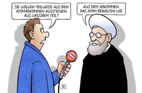 Cartoon: Teilweiser Ausstieg (medium) by Harm Bengen tagged atomabkommen,deal,iran,rohani,usa,aussteigen,interview,harm,bengen,cartoon,karikatur,atomabkommen,deal,iran,rohani,usa,aussteigen,interview,harm,bengen,cartoon,karikatur