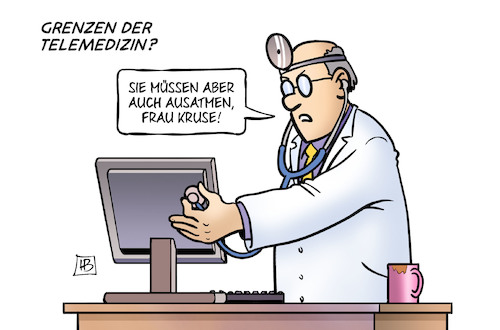 Cartoon: Telemedizin (medium) by Harm Bengen tagged grenzen,telemedizin,ausatmen,arzt,patientin,computer,internet,diagnose,harm,bengen,cartoon,karikatur,grenzen,telemedizin,ausatmen,arzt,patientin,computer,internet,diagnose,harm,bengen,cartoon,karikatur